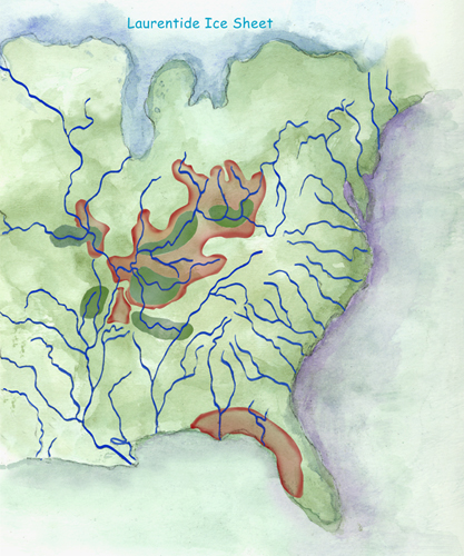 Paleoindians expansion from initial staging areas into adjacent regions, by Jane Kellett (Arkansas Archeological Survey)