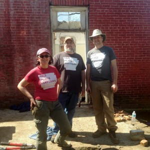 "L to R: Dr. Jodi Barnes (ARAS-UAM), Dr. Jamie Brandon (ARAS-UAF) and Bobby Braly (Executive Director of Historic Cane Hill)  sporting their Preserve Arkansas's ""This Place Matters"" t-shirts."