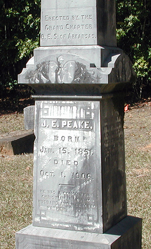 Obelisk of J.E. Peake at Helms Cemetery