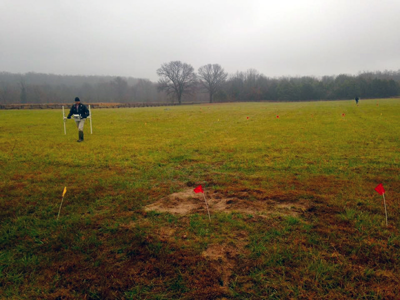 Collecting magnetometry data at Ruddick's Field.