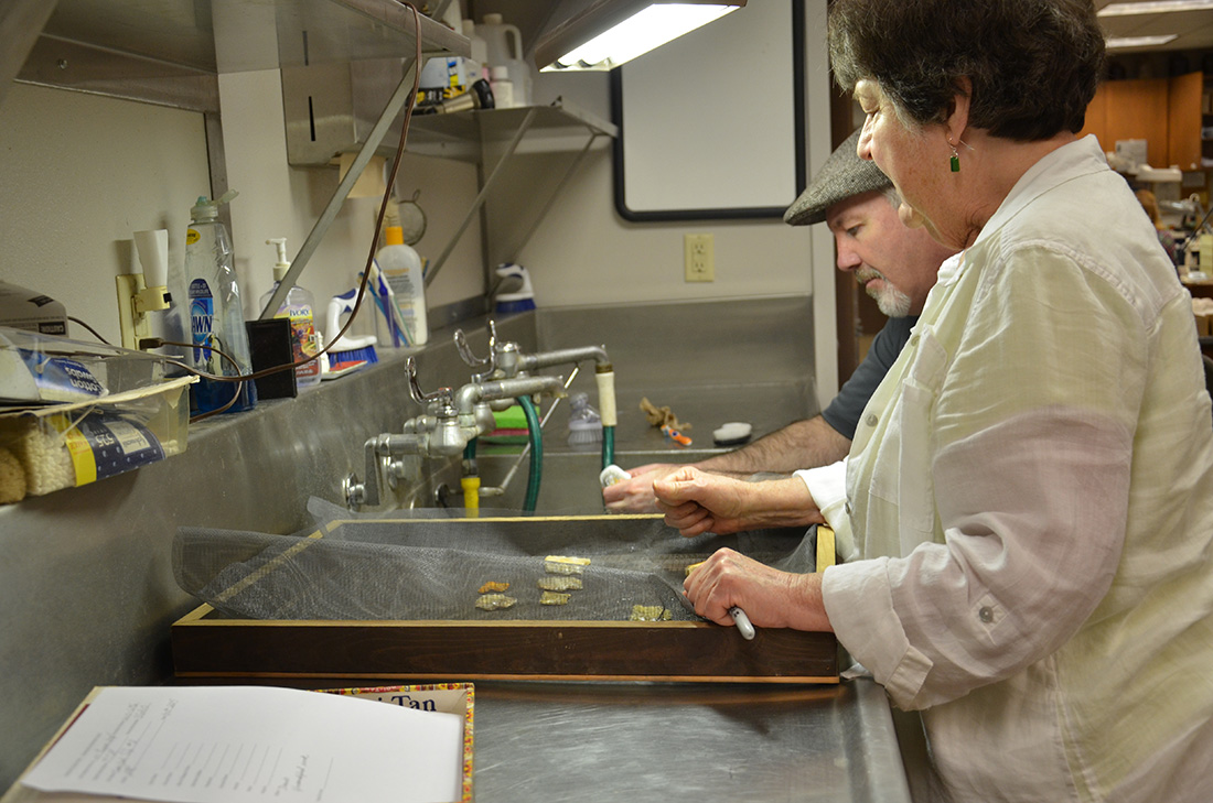 Volunteer Devin Holland cleans artifacts under the guidance of Arkansas State Archeologist Ann Early.