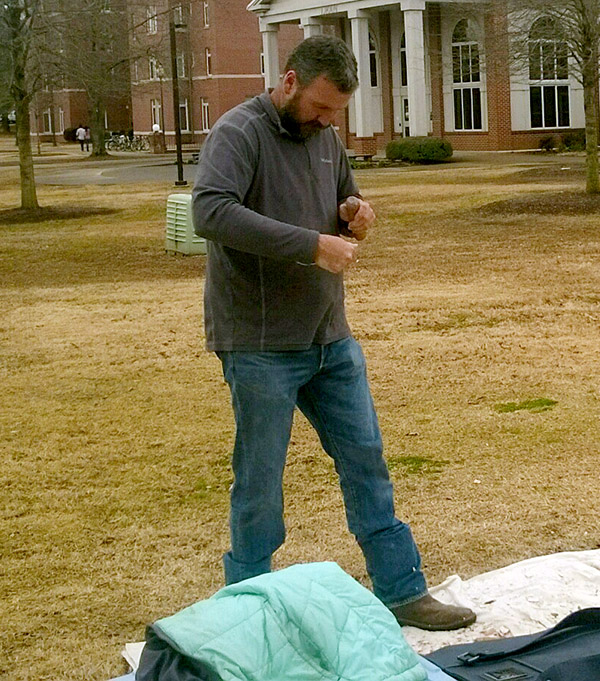 Mike Evans from the Arkansas Archeological Survey demonstrated flintknapping at Arkansas Tech's Archeology Day