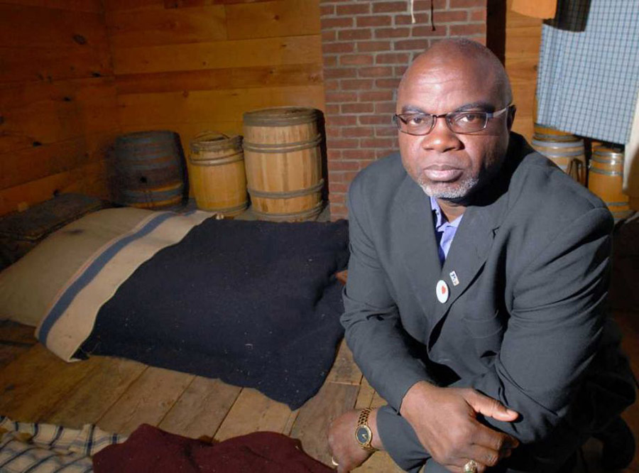 South Carolina native Joseph McGill Jr. in the attic of the Bush-Holley House in Cos Cob (Greenwich Time 2012). Photograph by Bob Luckey.