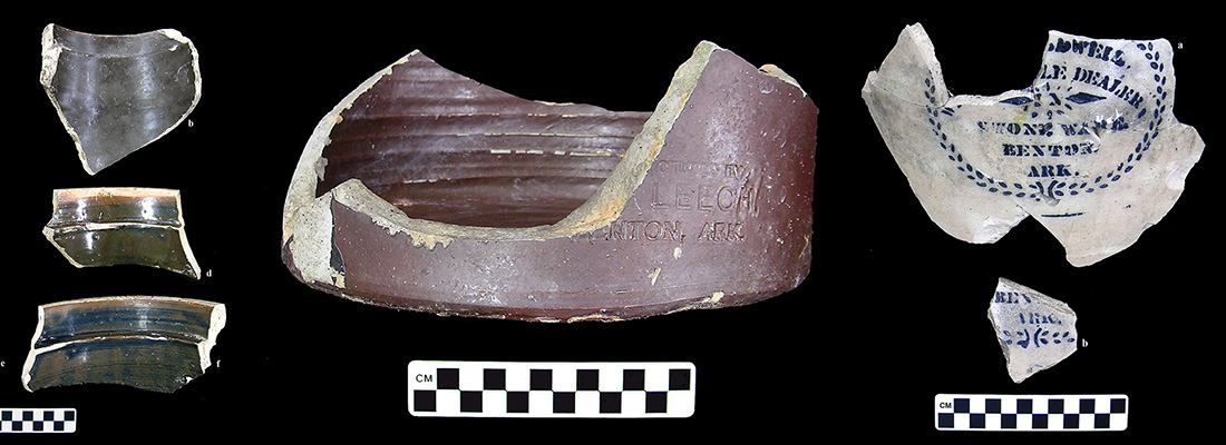 Assorted jar fragments from the Howe Pottery, from Arkansas Archeological Survey Research Series No. 66