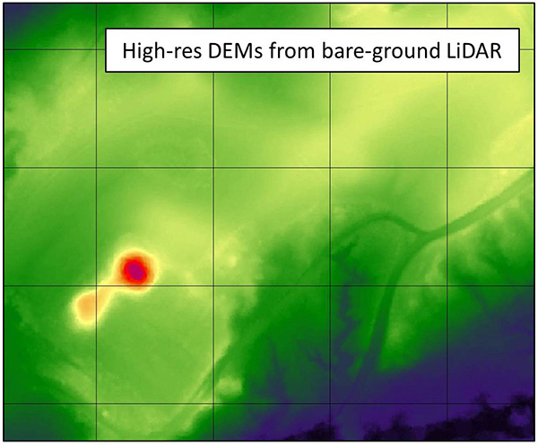 High-res DEMs from bare-ground LiDAR