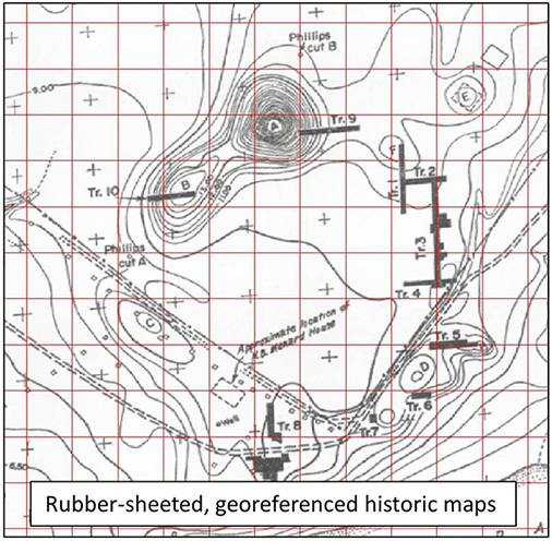 Rubber-sheeted, georeferenced historic maps