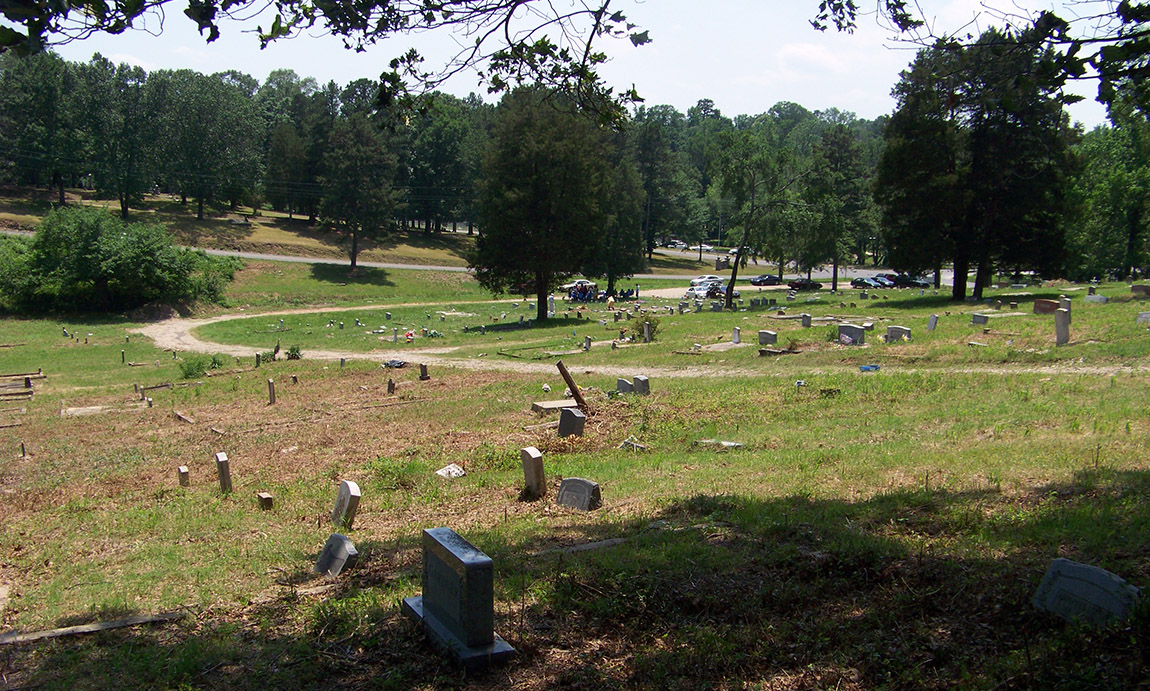 View of the Friendship Cemetery in 2011, after brush clearing by volunteers with the Hot Springs Historic Friendship Cemetery Preservation Association.