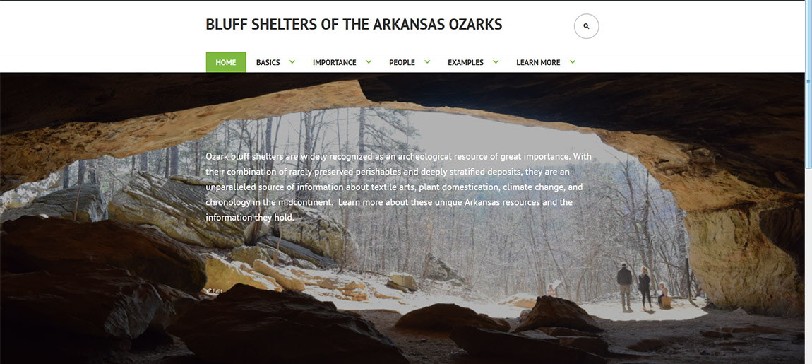 "Bluff Shelter website. Landing page for the new ""Bluff Shelters of the Arkansas Ozarks"" educational website during development."
