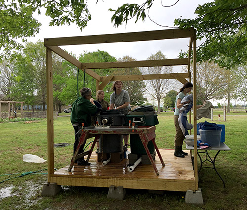 Botany students and faculty from UAM attend a workshop at Toltec Mounds State Park to learn about flotation, southeastern paleoethnobotany, and the Plum Bayou Garden.