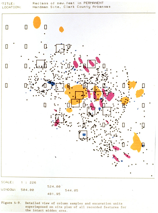 Map of excavation locations and features at the Hardman saltmaking site, 1987 excavations. Yellow areas are burn locations, pink areas are graves, blue areas are storage and garbage pits, and black dots are post stains.