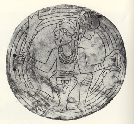 A Braden-style engraved gorget that is more realistically rendered, but portrays similar symbolism and design elements. (Castalian Springs site, Sumner County, Tennessee).