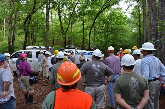 Professional and volunteer archeologists gather for a Ouachita National Forest briefing at the start of the 2014 Society Training Program.