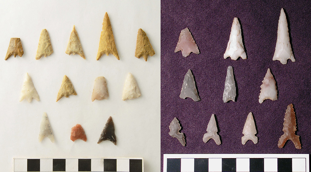 Arrow points from both sites include Late Caddo period styles such as small-stemmed Bassett points and triangular Maud points with or without side notches. More of the earlier Bassett style points were found at 3HS60 (left), while Maud var. Maud and Maud var. Hopper points were more frequent at 3SA11 (right).