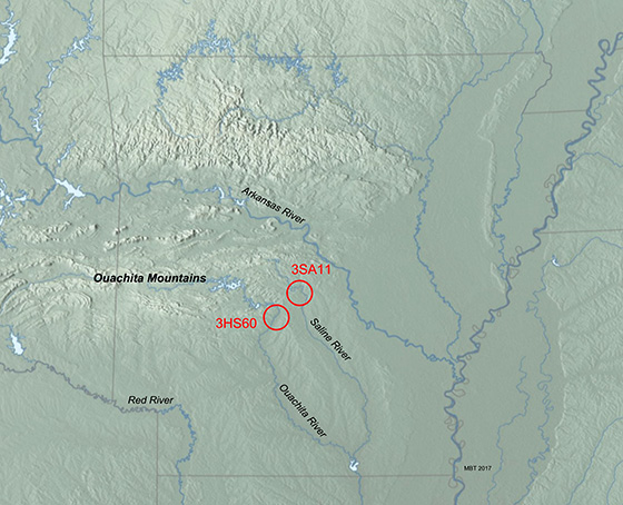Locales of 3HS60 near the Ouachita River and 3SA11 near the Saline River (base map: Physical Map of the Coterminous United States, Tom Patterson).