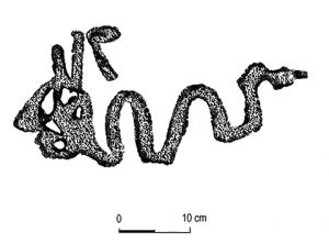 Human-headed serpent representing a mythic scene, from the Arkansas River Valley.