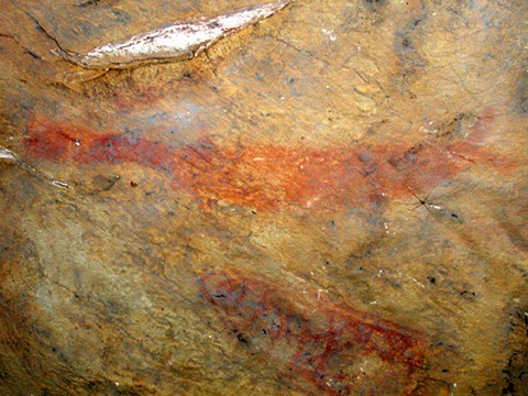 Paddlefish (above) and trap (below) pictograph on Petit Jean Mountain.