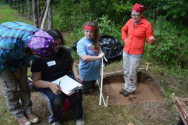 4-H youth learning to map an excavation unit at Hollywood Plantation in 2015.
