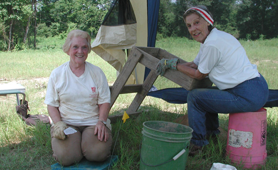 Mildred Grissom and Elaine Smith (Ouachita Chapter) assisted the Survey's HSU research station with archeological testing at a site in Hot Spring County in 2004.