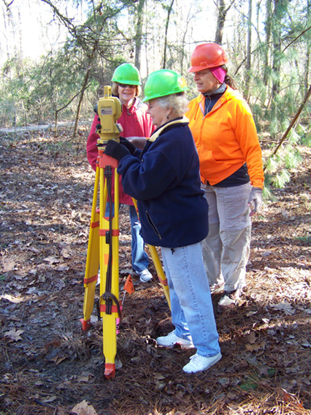 Members of the Ouachita Chapter learned to use a total station while mapping a site.