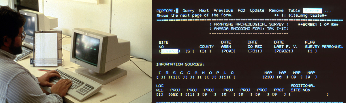 (L) Jack Stewart entering data on an old computer system. (R) Old data entry screen for AMASDA where data entry was coded by an alphanumeric system to fit onto the small capacity available in old computers.