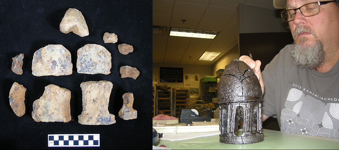Figure 10 (left). Fragments of a Civil War era James artillery shell were found in recent excavations at Prairie Grove Battlefield State Park. Figure 11 (right). Metal conservator Jared Pebworth was able to reconstruct the shell.