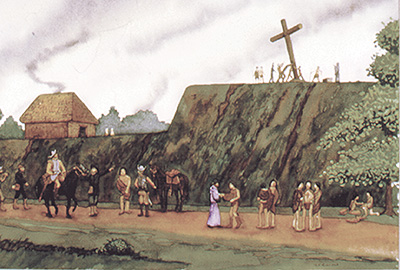 """Ceremonial Cross Raising at Parkin"" by Dan Kerlin. Courtesy of the University of Arkansas Museum."