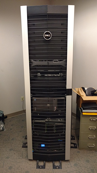 The server rack containing some of the Arkansas Archeological Survey's servers including the servers used to run AMASDA Online.