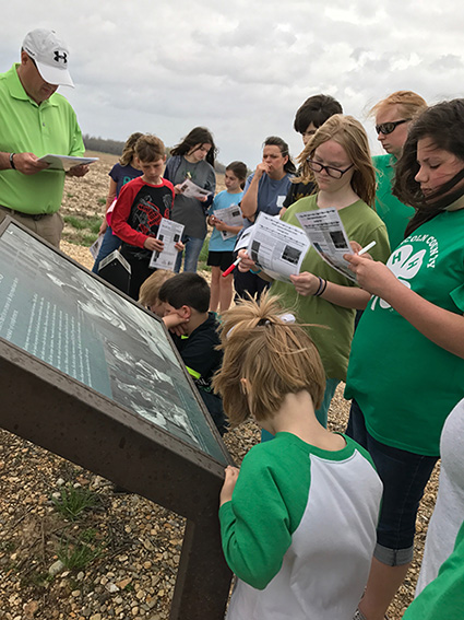 Desha County 4-H learning about the Rohwer Relocation Center Memorial Cemetery. Photo by Jodi Barnes.