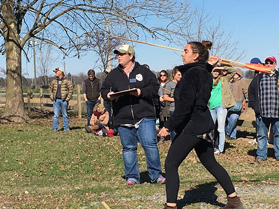 Local anthropology and history students compete in the ArchaeOlympics at Toltec Mounds State Park. Photo by Krista Lewis