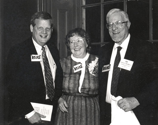 Dr. B. Alan Sugg (left), then President of the University of Arkansas System, with Hester Davis and Bob McGimsey at the 25th Anniversary celebration in 1992.