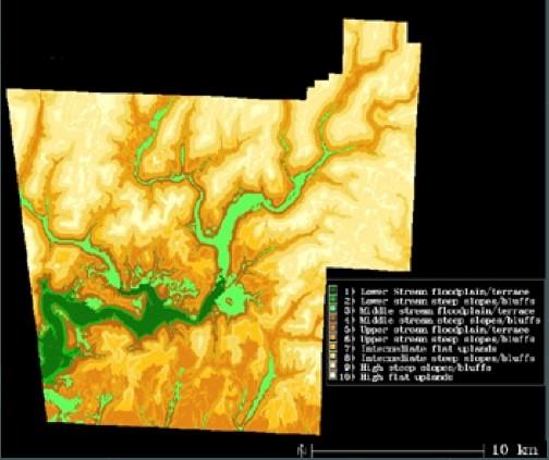 Figure 1. Terrain model for the Lee Creek Unit showing ten landform classes.
