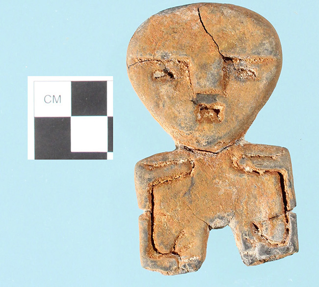 This small stone figurine found near Pine Bluff, Arkansas may be associated with the Poverty Point Culture.