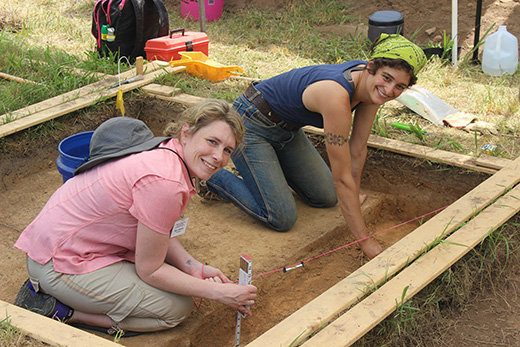 Society members Ashley Hennessee and JoJo Houff excavating a test unit at the Leetown site.