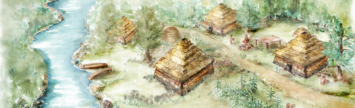 Artist reconstruction of the Native American village at Carden Bottom