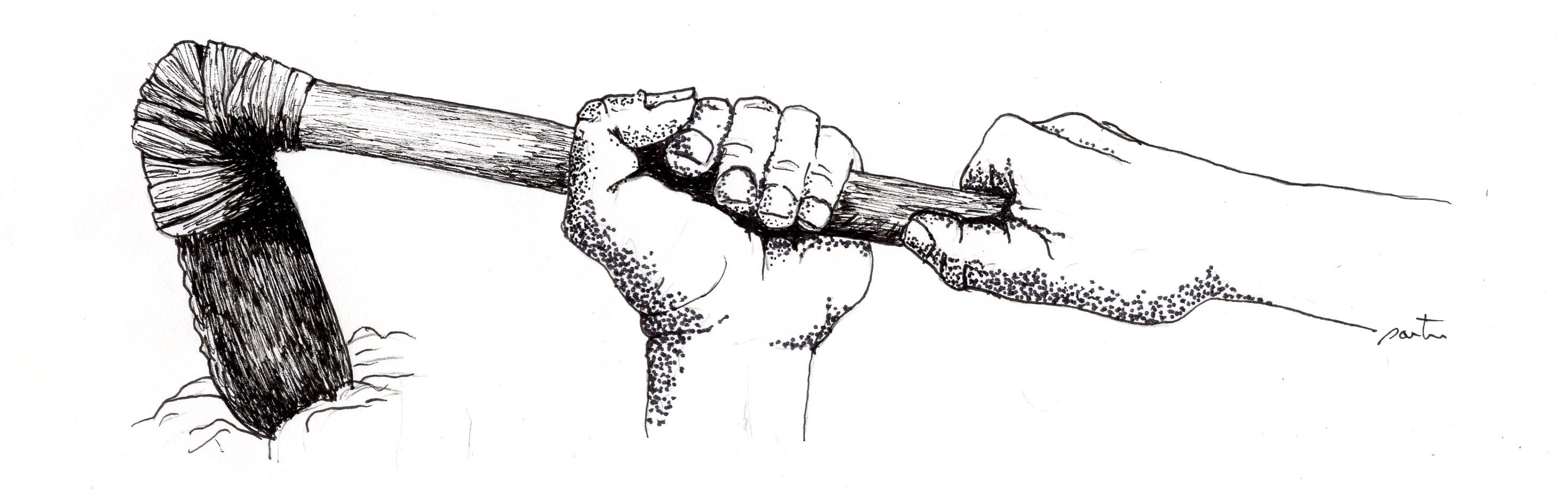 A hoe made from stone. Drawing by Larry Porter.