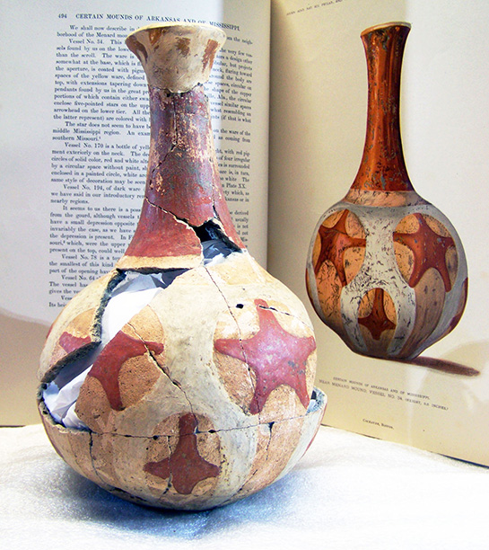 Menard Bottle. Red and white painted bottle, shell-tempered pottery; Quapaw (Menard complex), 1400-1600; Menard-Hodges site (3AR4); Hodges 77-1 / 44-3