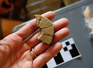 Perforated ceramic disc made from a sherd of a broken pottery vessel.