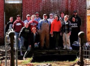 Some of the many volunteers and staff that worked on the 2015 Spring Break Dig at the Methodist Manse at Cane Hill