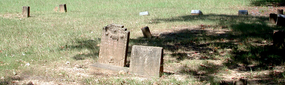 Gravestones at the historic Helms Cemetery in Clark County, Arkansas.