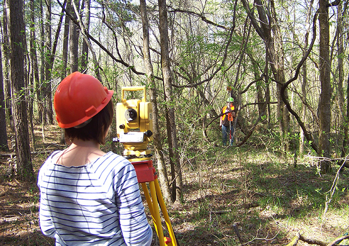 Henderson State University students learned total station mapping at the site during preparations for the 2013 Society Training Program at 3MN298.
