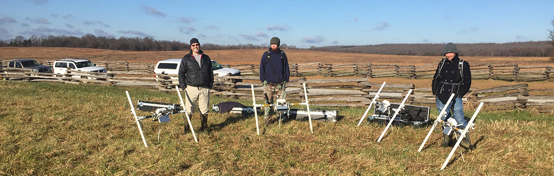 Dr. Jami Lockhart and John Samuelsen of the Arkansas Archeological Survey, with University of Arkansas doctoral student Adam Wiewel.