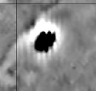 Gradiometry image of the burned structure (black) next to the earthquake crack (line running from SW to NE above structure) by Dr Jami Lockhart.