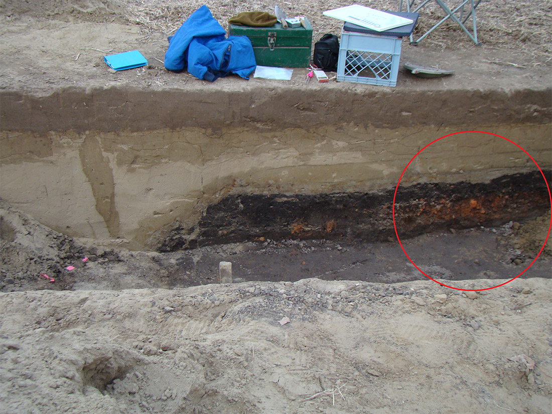 Figure 4: 2014 excavation trench that just missed the hearth.  The area inside the red circle is the balk wall that we removed in 2016 to see the entire hearth feature in figure 3.