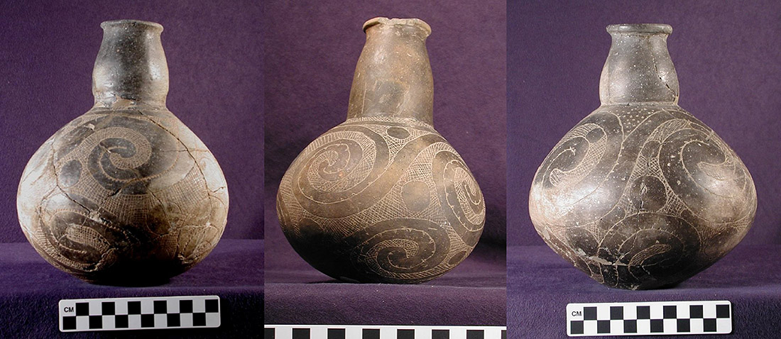 Three Hodges Engraved var. Fowler bottles (77-1/X-270, X-134, X-275), tempered with shell, showing Ebbet 4 body design found in several sites in the Middle Ouachita River Valley
