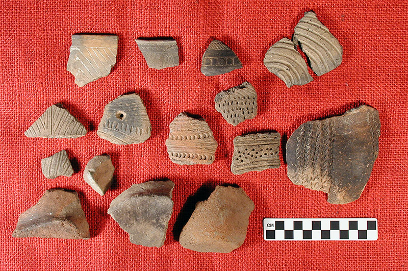 Potsherds from the JEC Hodges Collection show the range of decorative techniques used on Caddo pottery.