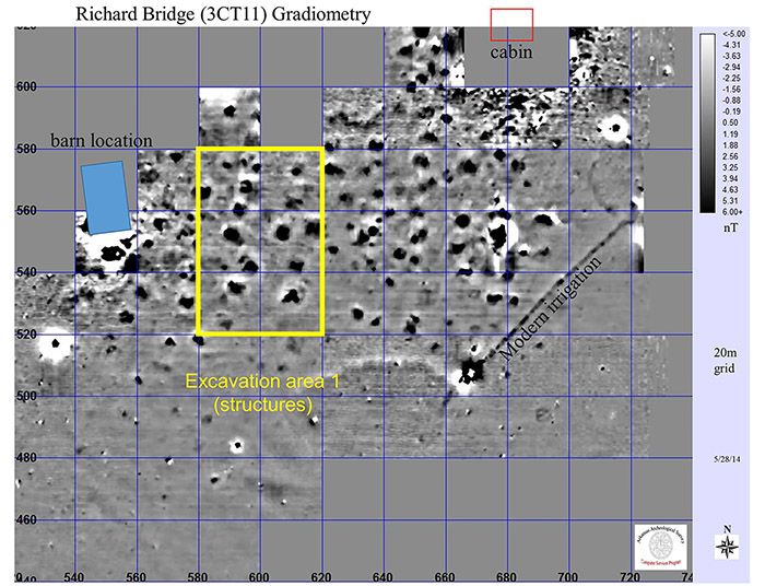 The Gradiometry survey of Area 1 yielded clear indications of structures and other features.