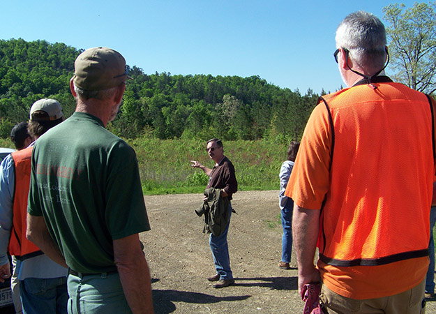 Roger Coleman (Ouachita National Forest) gives background to the team prior to the quarry hike.