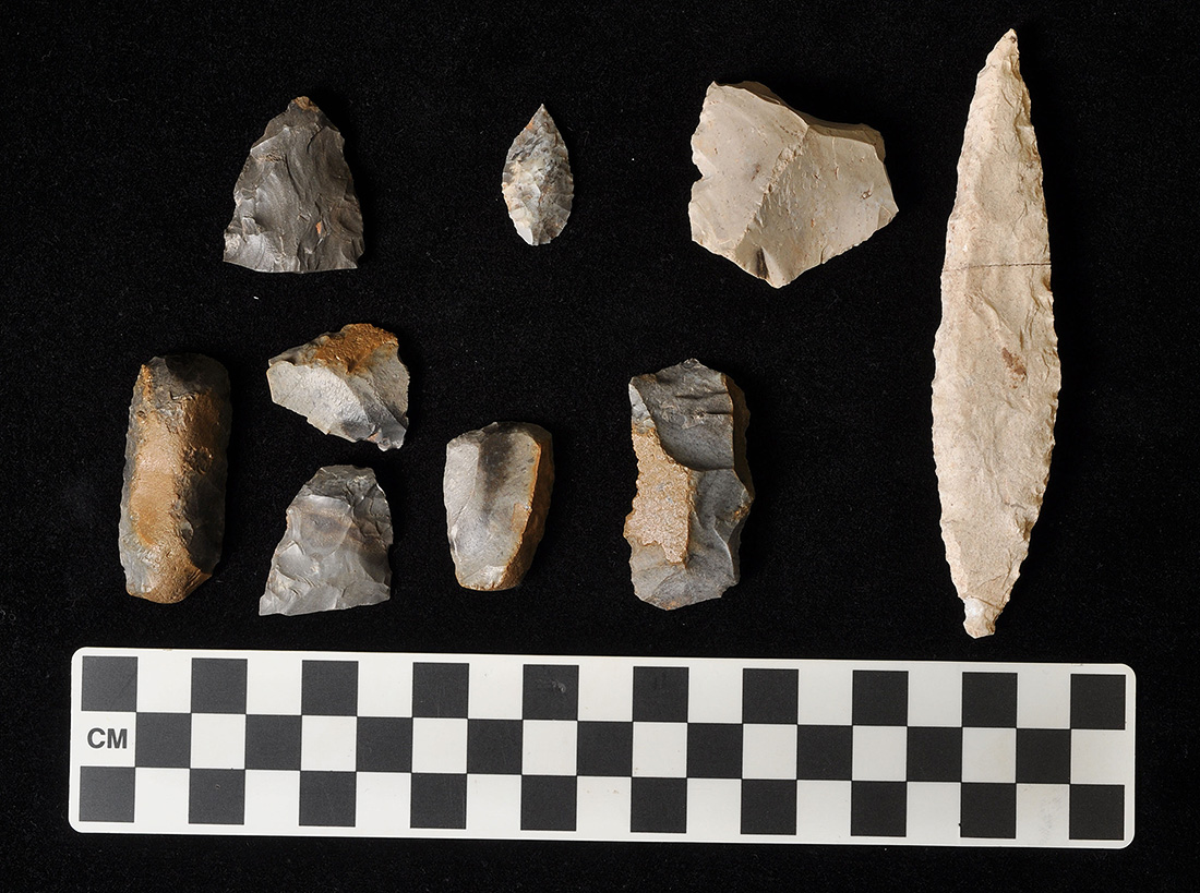 Assorted stone tools found in association on the floor of House 2.