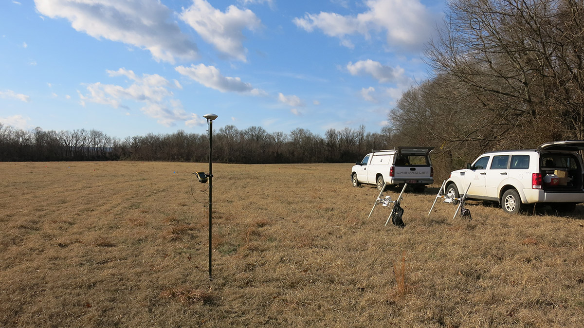 Getting ready to conduct geophysical survey.