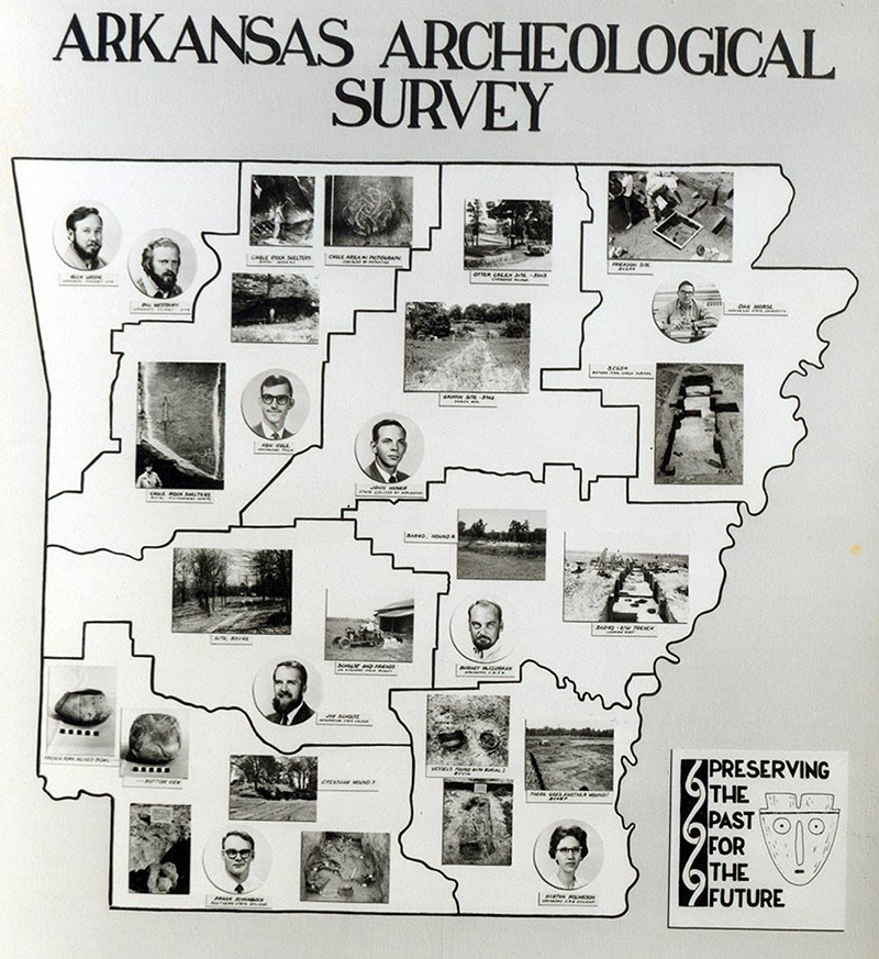 The first archeological research stations in Arkansas.